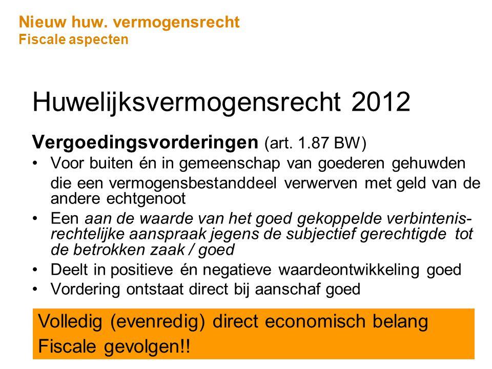 Nieuw huw. vermogensrecht Fiscale aspecten Huwelijksvermogensrecht 2012 Vergoedingsvorderingen (art. 1.87 BW) •Voor buiten én in gemeenschap van goede