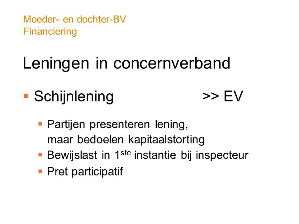 Moeder- en dochter-BV Financiering Leningen in concernverband  Schijnlening >> EV  Partijen presenteren lening, maar bedoelen kapitaalstorting  Bew