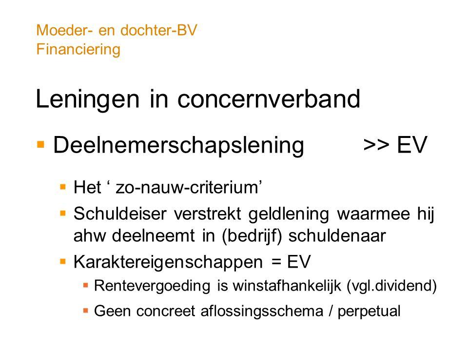 Moeder- en dochter-BV Financiering Leningen in concernverband  Deelnemerschapslening >> EV  Het ' zo-nauw-criterium'  Schuldeiser verstrekt geldlen