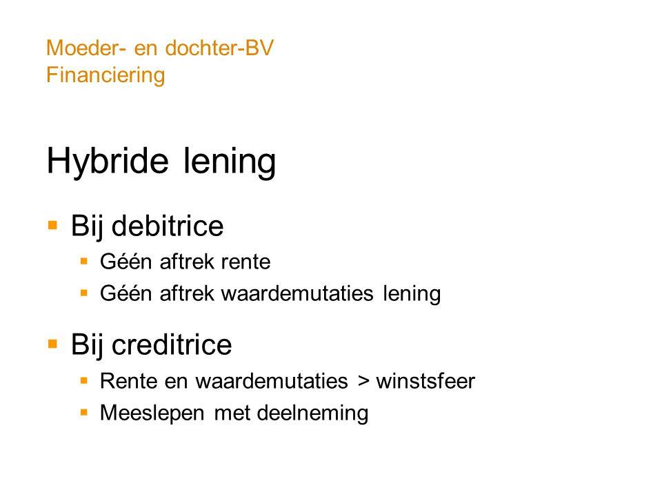 Moeder- en dochter-BV Financiering Hybride lening  Bij debitrice  Géén aftrek rente  Géén aftrek waardemutaties lening  Bij creditrice  Rente en