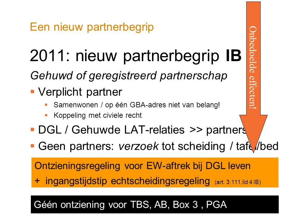 Een nieuw partnerbegrip 2011: nieuw partnerbegrip IB Gehuwd of geregistreerd partnerschap  Verplicht partner  Samenwonen / op één GBA-adres niet van