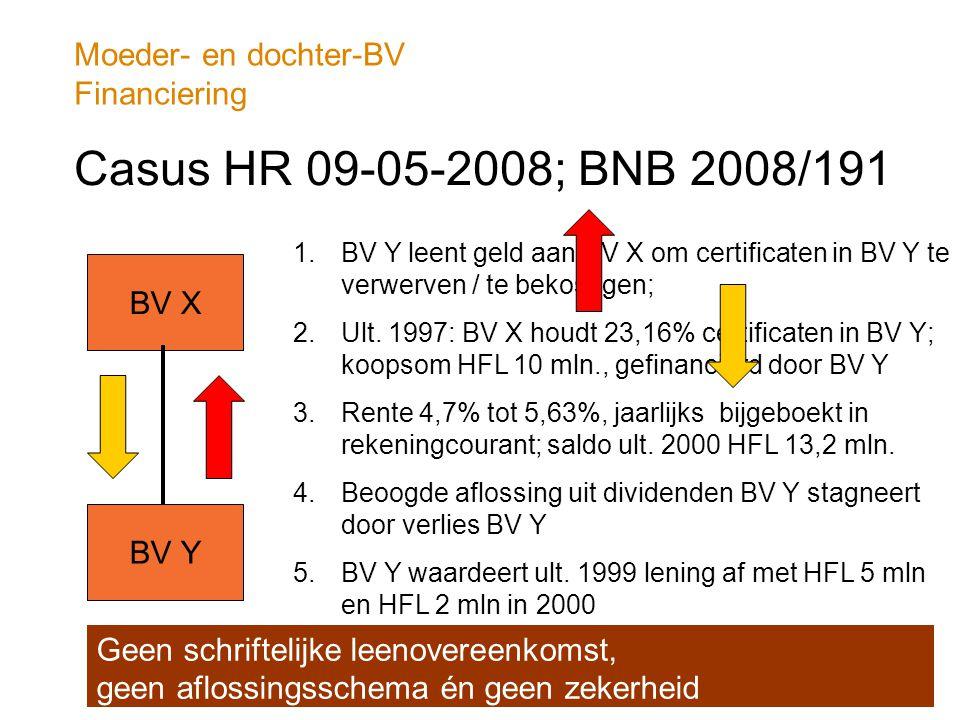 Moeder- en dochter-BV Financiering Casus HR 09-05-2008; BNB 2008/191 BV X BV Y 1.BV Y leent geld aan BV X om certificaten in BV Y te verwerven / te be
