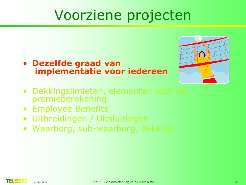 26-6-2014 The EDI Standard for the Belgian Insurance sector 23 Voorziene projecten •Dezelfde graad van implementatie voor iedereen •Dekkingslimieten, elementen voor de premieberekening •Employee Benefits •Uitbreidingen / Uitsluitingen •Waarborg, sub-waarborg, dekking