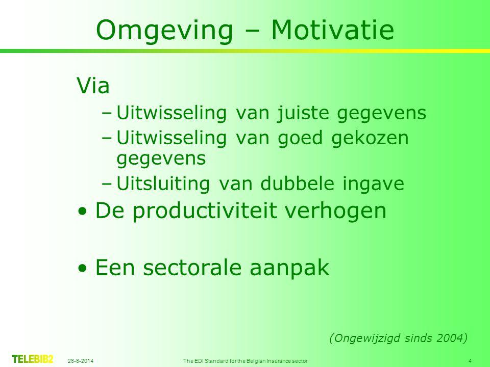 26-6-2014 The EDI Standard for the Belgian Insurance sector 4 Omgeving – Motivatie Via –Uitwisseling van juiste gegevens –Uitwisseling van goed gekozen gegevens –Uitsluiting van dubbele ingave •De productiviteit verhogen •Een sectorale aanpak (Ongewijzigd sinds 2004)