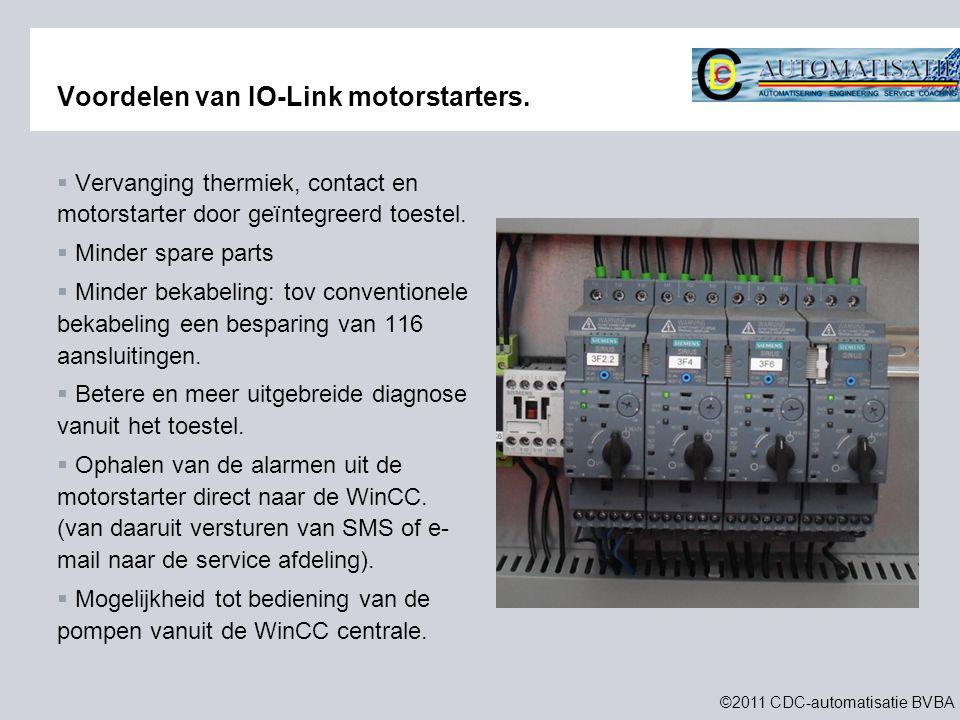 ©2011 CDC-automatisatie BVBA Voordelen van IO-Link motorstarters.  Vervanging thermiek, contact en motorstarter door geïntegreerd toestel.  Minder s