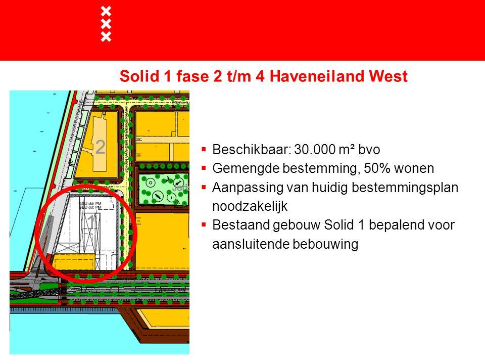Solid 1 fase 2 t/m 4 Haveneiland West  Beschikbaar: 30.000 m² bvo  Gemengde bestemming, 50% wonen  Aanpassing van huidig bestemmingsplan noodzakelijk  Bestaand gebouw Solid 1 bepalend voor aansluitende bebouwing