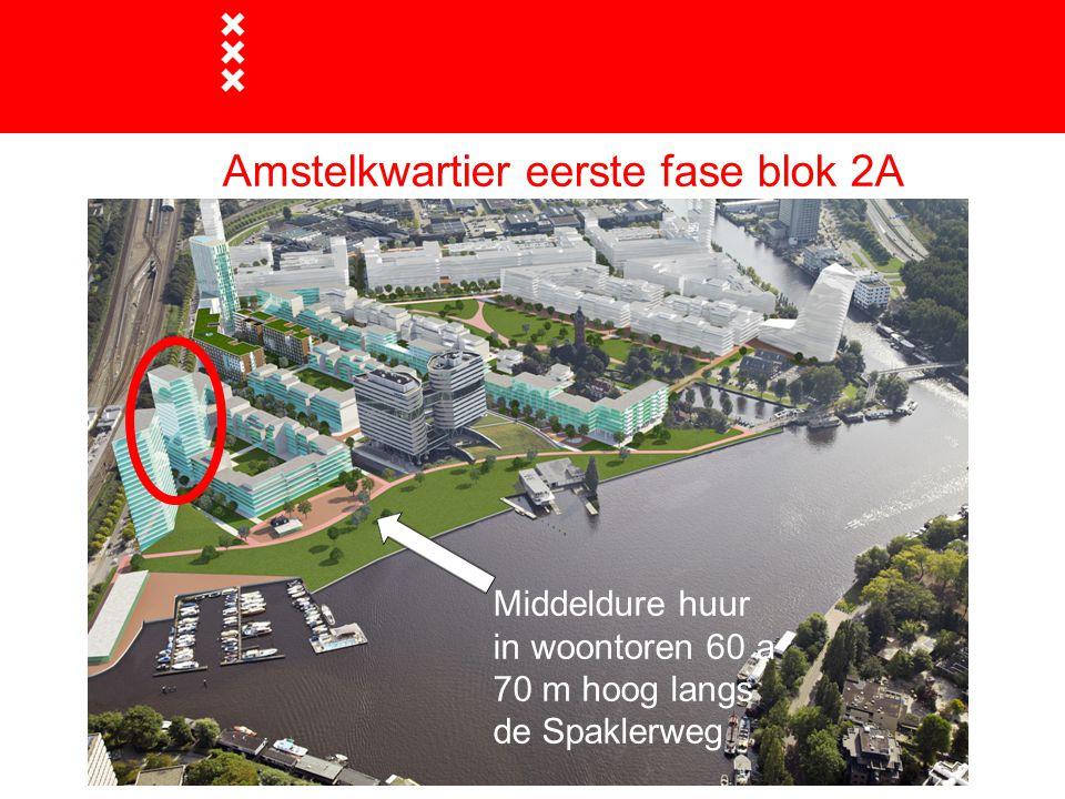 Amstelkwartier eerste fase blok 2A Middeldure huur in woontoren 60 a 70 m hoog langs de Spaklerweg