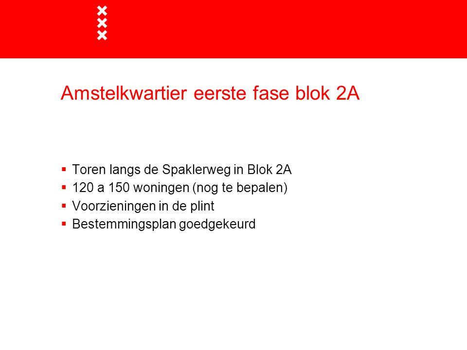  Toren langs de Spaklerweg in Blok 2A  120 a 150 woningen (nog te bepalen)  Voorzieningen in de plint  Bestemmingsplan goedgekeurd Amstelkwartier eerste fase blok 2A