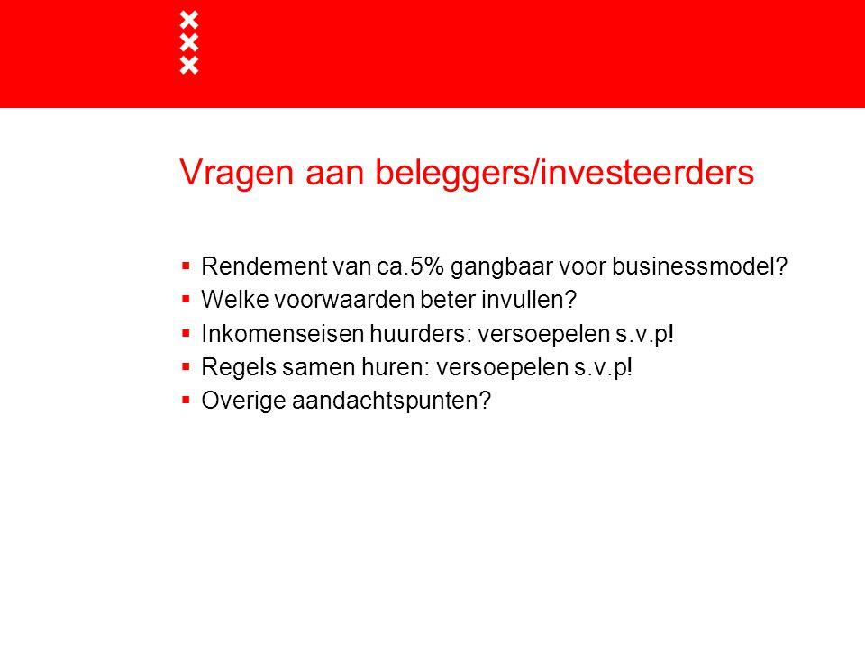 Vragen aan beleggers/investeerders  Rendement van ca.5% gangbaar voor businessmodel.