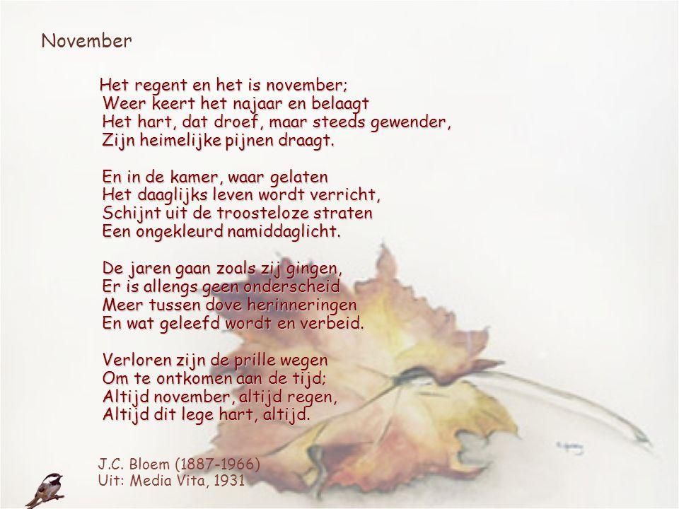 November Het regent en het is november; Weer keert het najaar en belaagt Het hart, dat droef, maar steeds gewender, Zijn heimelijke pijnen draagt. En