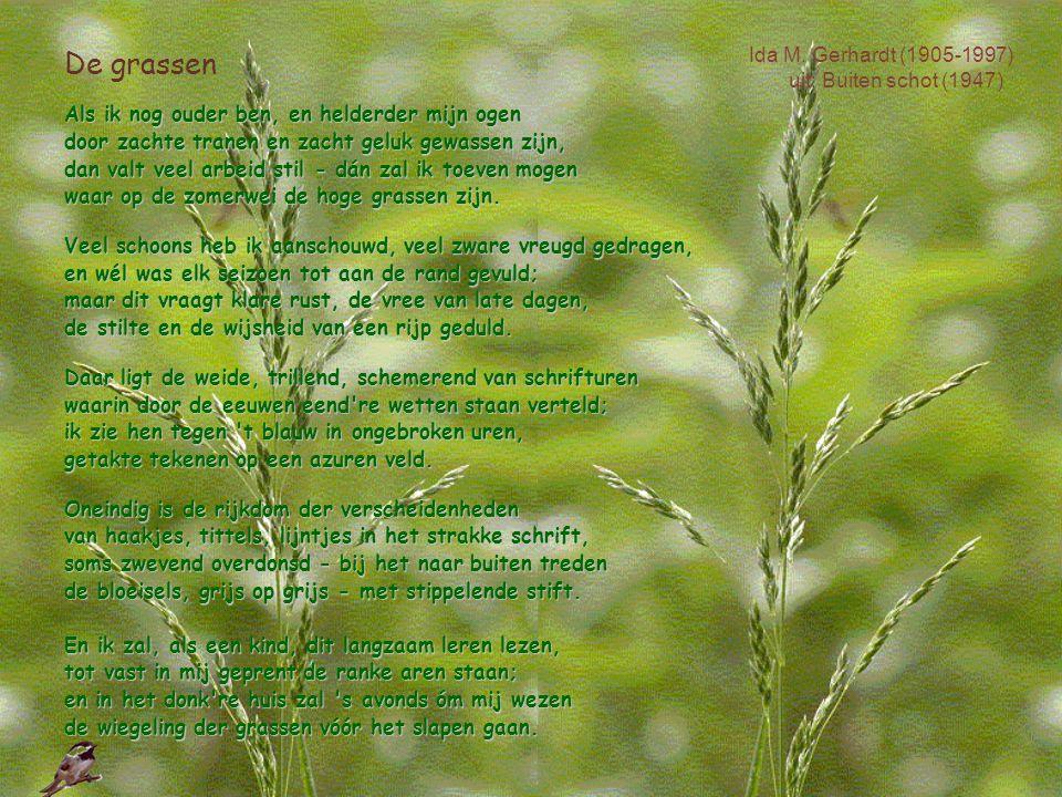 De grassen Als ik nog ouder ben, en helderder mijn ogen Als ik nog ouder ben, en helderder mijn ogen door zachte tranen en zacht geluk gewassen zijn,