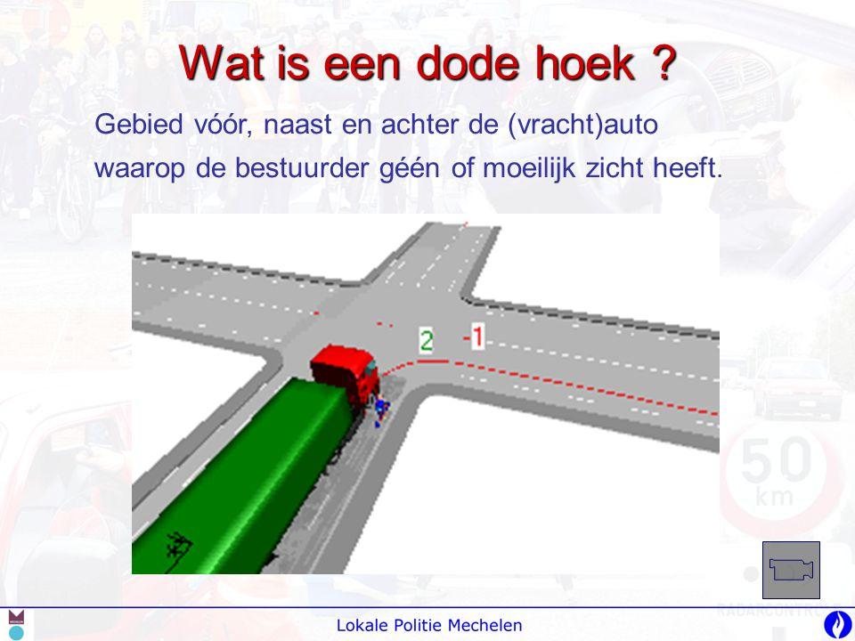 Gebied vóór, naast en achter de (vracht)auto waarop de bestuurder géén of moeilijk zicht heeft.