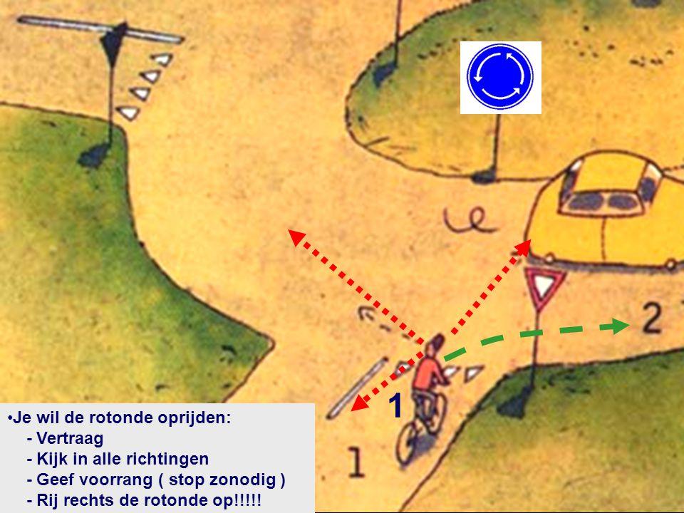 1 •Je wil de rotonde oprijden: - Vertraag - Kijk in alle richtingen - Geef voorrang ( stop zonodig ) - Rij rechts de rotonde op!!!!!