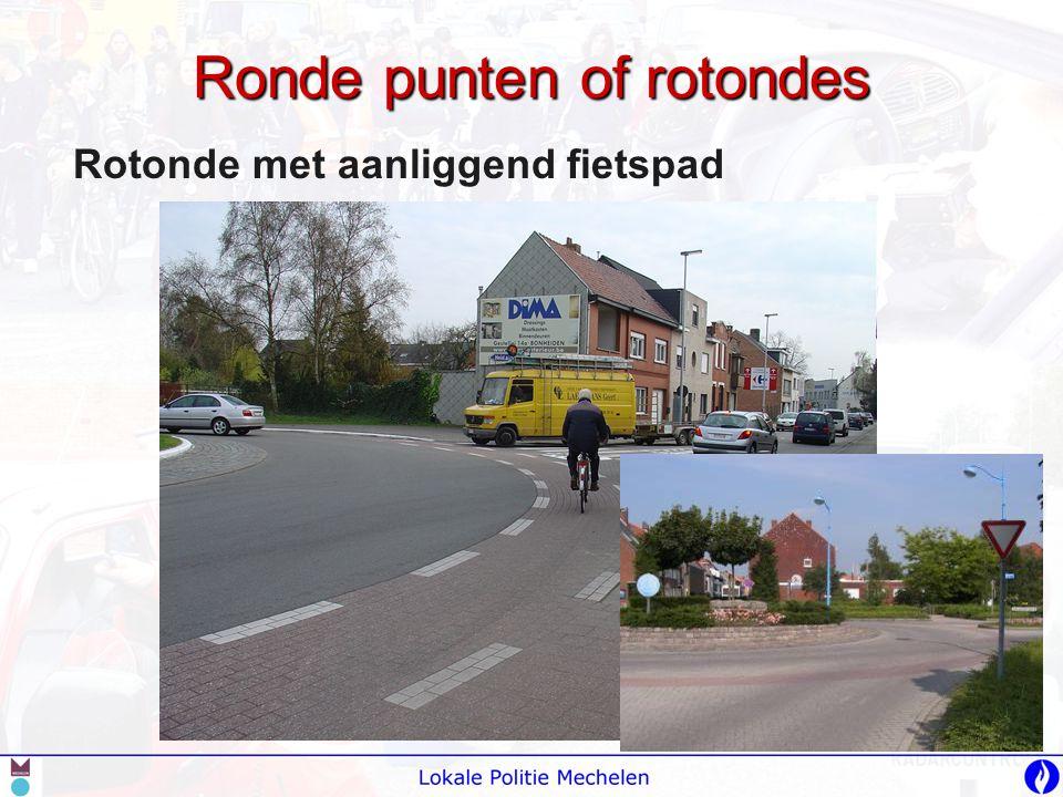 Ronde punten of rotondes Rotonde met aanliggend fietspad