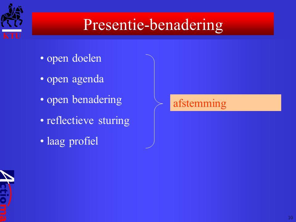 • open doelen • open agenda • open benadering • reflectieve sturing • laag profiel afstemming Presentie-benadering 10