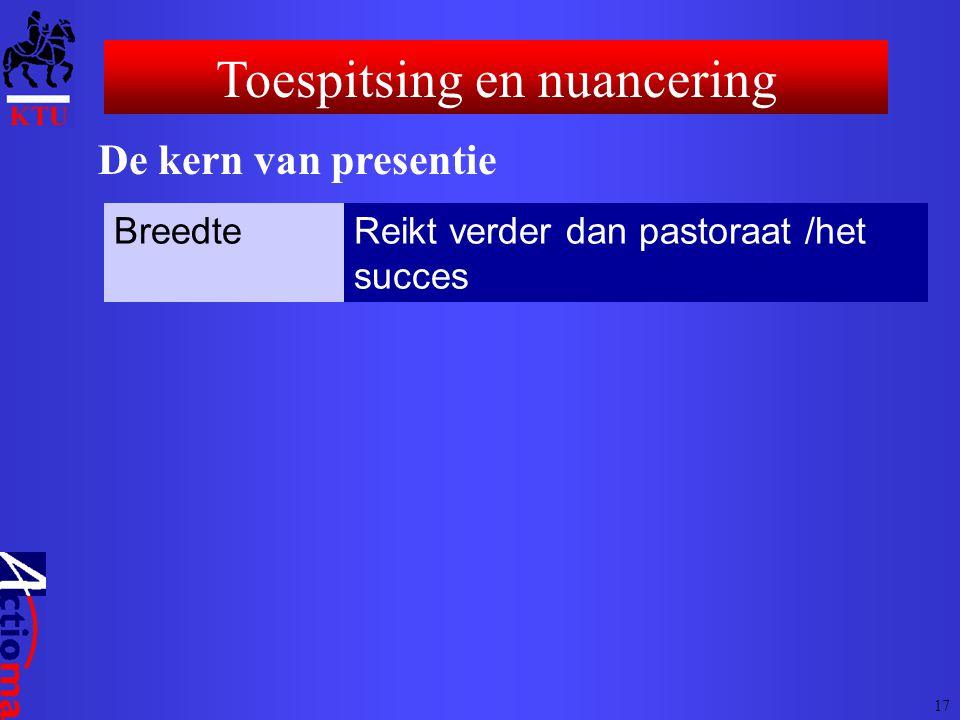 Toespitsing en nuancering De kern van presentie BreedteReikt verder dan pastoraat /het succes 17