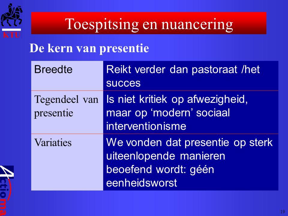 Toespitsing en nuancering De kern van presentie BreedteReikt verder dan pastoraat /het succes Tegendeel van presentie Is niet kritiek op afwezigheid,