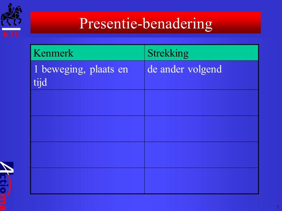 KenmerkStrekking 1 beweging, plaats en tijd de ander volgend Presentie-benadering 5