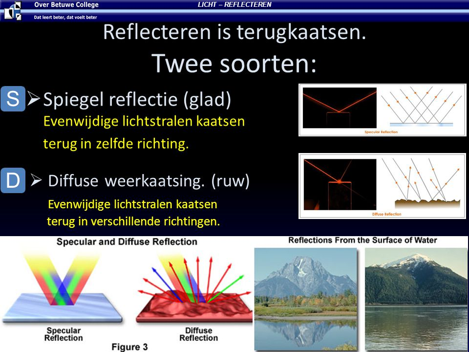 Reflecteren is terugkaatsen. Twee soorten: LICHT – REFLECTEREN S D  Spiegel reflectie (glad) Evenwijdige lichtstralen kaatsen terug in zelfde richtin