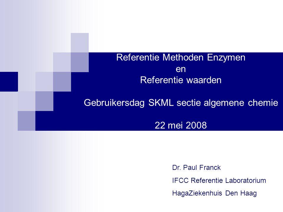 10 jaar regio harmonisatie enzymen  1996: Harmonisatie Enzymen regio Rond Vliet en Oude Rijn (n=19) ALAT, ALFO, Amylase, ASAT, CK, GGT en LD  1998: Publicatie resultaten : Multicenter harmonization of common enzyme results by fresh patient-pool sera. Paul F.H.
