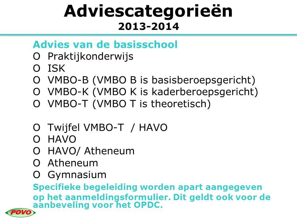 Adviescategorieën 2013-2014 Advies van de basisschool O Praktijkonderwijs O ISK O VMBO-B (VMBO B is basisberoepsgericht) O VMBO-K (VMBO K is kaderbero