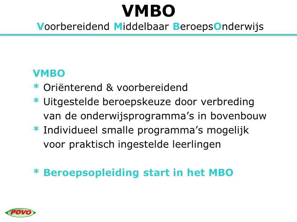 VMBO Voorbereidend Middelbaar BeroepsOnderwijs VMBO * Oriënterend & voorbereidend * Uitgestelde beroepskeuze door verbreding van de onderwijsprogramma