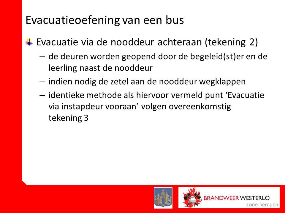 Evacuatieoefening van een bus Evacuatie via de nooddeur achteraan (tekening 2) – de deuren worden geopend door de begeleid(st)er en de leerling naast de nooddeur – indien nodig de zetel aan de nooddeur wegklappen – identieke methode als hiervoor vermeld punt 'Evacuatie via instapdeur vooraan' volgen overeenkomstig tekening 3
