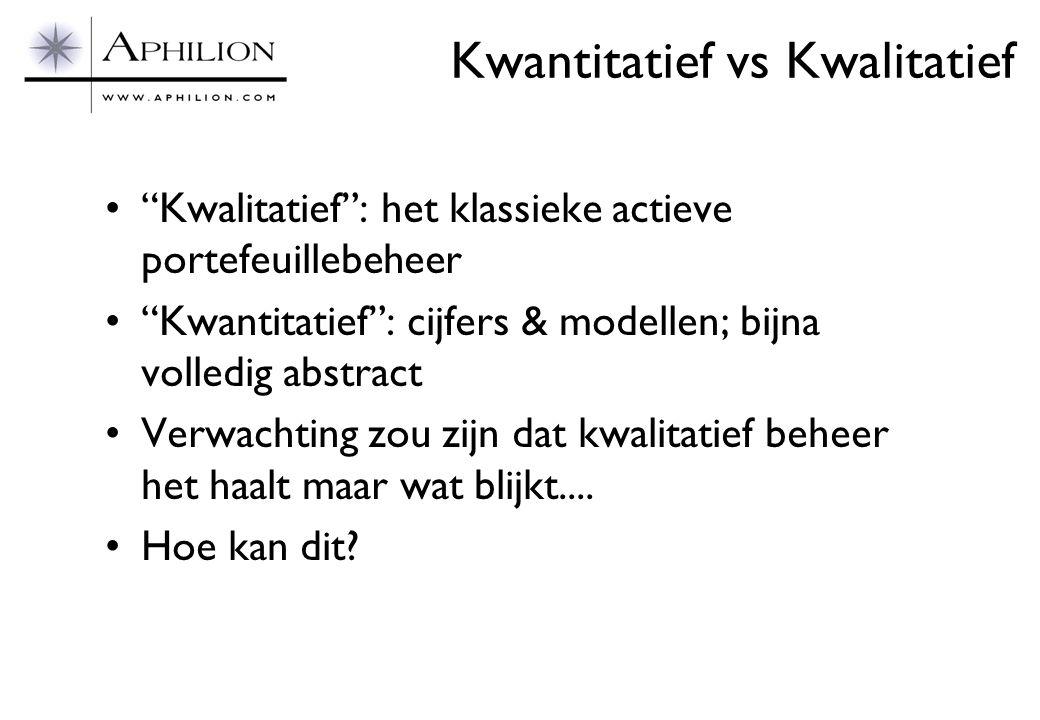 """Kwantitatief vs Kwalitatief •""""Kwalitatief"""": het klassieke actieve portefeuillebeheer •""""Kwantitatief"""": cijfers & modellen; bijna volledig abstract •Ver"""