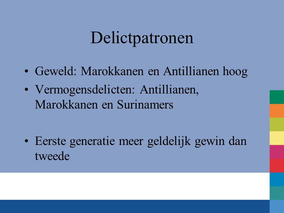 Delictpatronen •Geweld: Marokkanen en Antillianen hoog •Vermogensdelicten: Antillianen, Marokkanen en Surinamers •Eerste generatie meer geldelijk gewin dan tweede