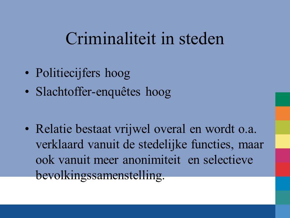 Criminaliteit in steden •Politiecijfers hoog •Slachtoffer-enquêtes hoog •Relatie bestaat vrijwel overal en wordt o.a.