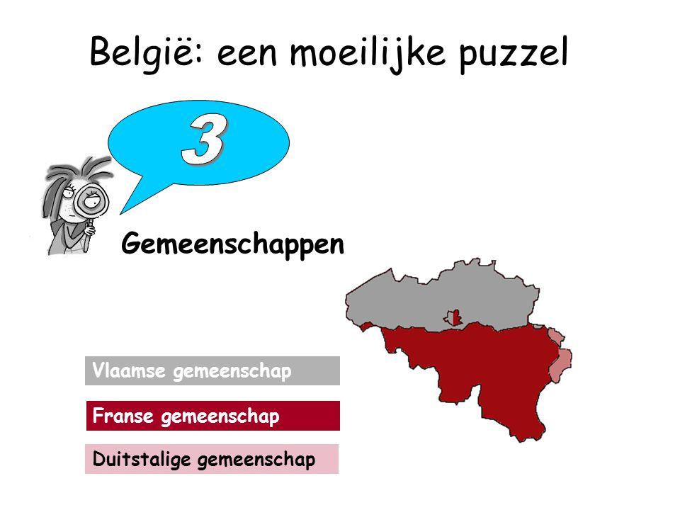 België: een moeilijke puzzel Gemeenschappen Vlaamse gemeenschap Franse gemeenschap Duitstalige gemeenschap