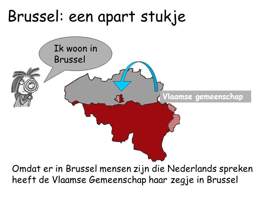 Ik woon in Brussel Vlaamse gemeenschap Omdat er in Brussel mensen zijn die Nederlands spreken heeft de Vlaamse Gemeenschap haar zegje in Brussel Brussel: een apart stukje