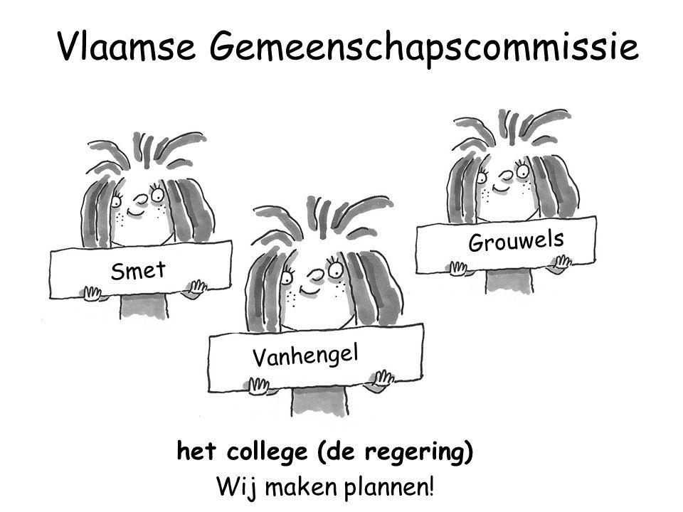 Vanhengel Smet Grouwels het college (de regering) Wij maken plannen! Vlaamse Gemeenschapscommissie