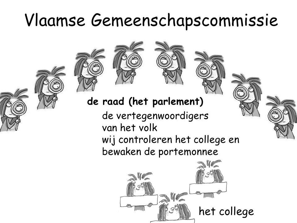 de raad (het parlement) de vertegenwoordigers van het volk wij controleren het college en bewaken de portemonnee het college Vlaamse Gemeenschapscommissie
