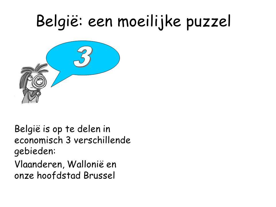 België: een moeilijke puzzel België is op te delen in economisch 3 verschillende gebieden: Vlaanderen, Wallonië en onze hoofdstad Brussel