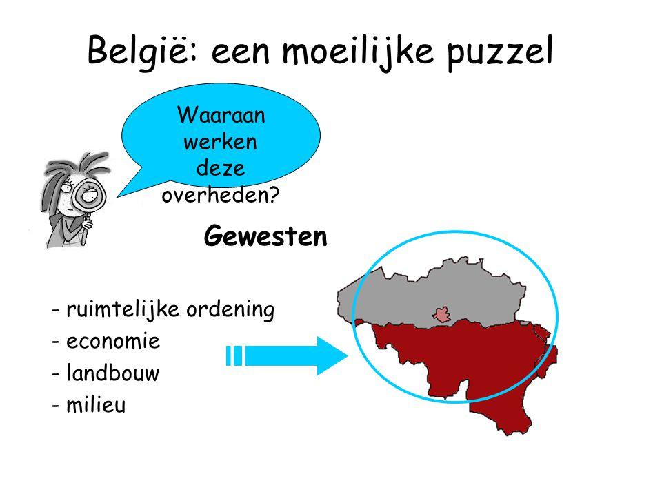 België: een moeilijke puzzel Gewesten Waaraan werken deze overheden.