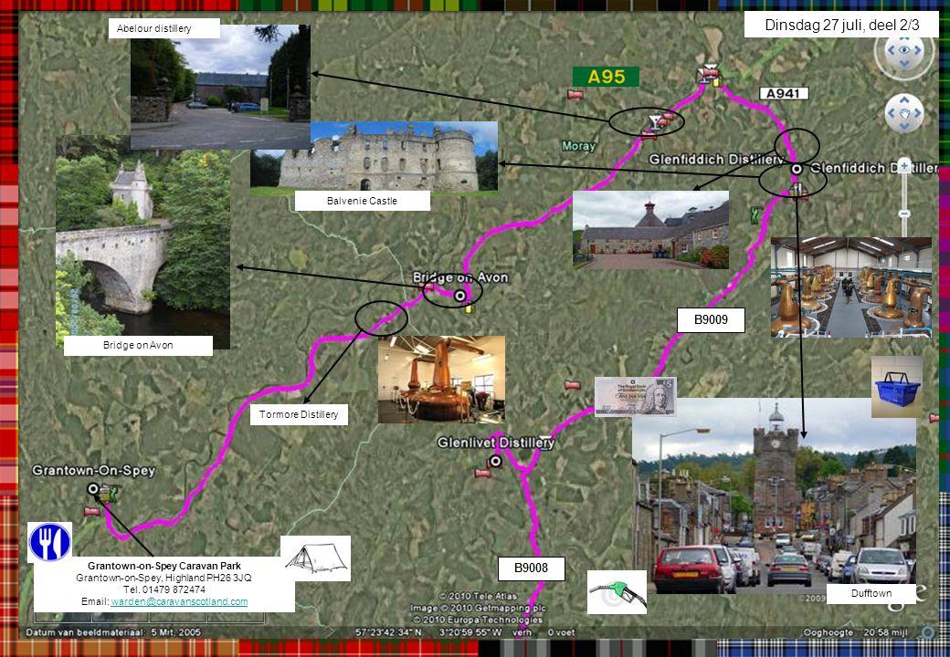 Dinsdag 27 juli, deel 2/3 Balvenie Castle Bridge on Avon Dufftown Abelour distillery Grantown-on-Spey Caravan Park Grantown-on-Spey, Highland PH26 3JQ
