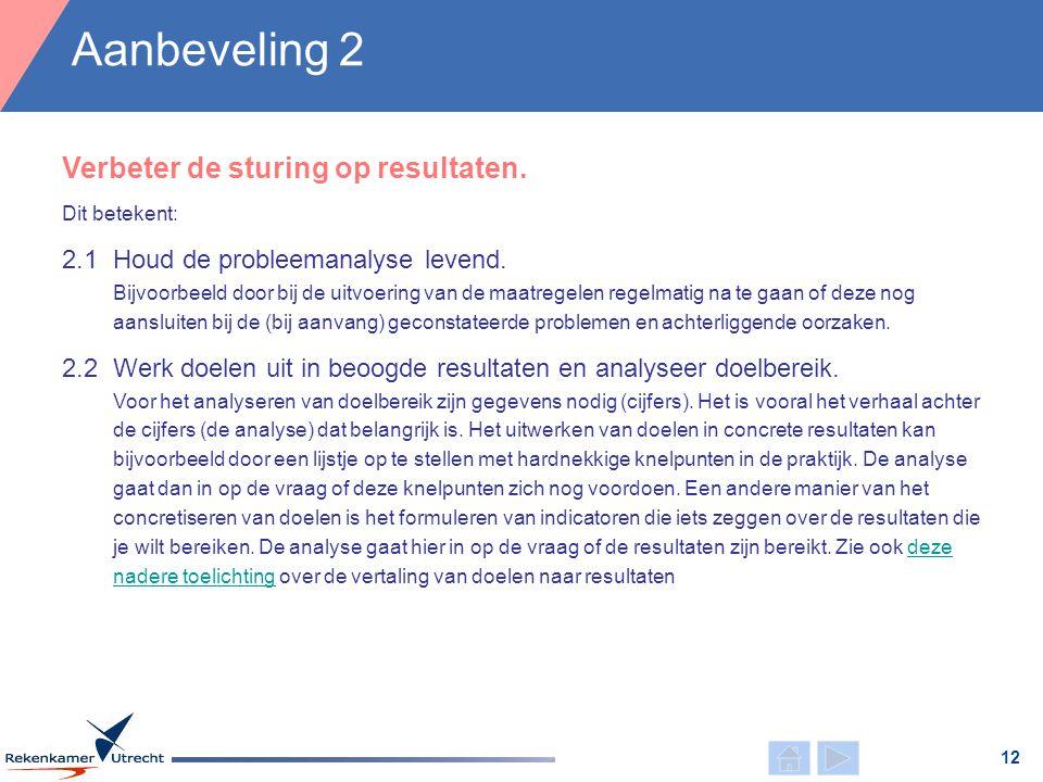 Dit betekent: Aanbeveling 2 12 2.1Houd de probleemanalyse levend. Bijvoorbeeld door bij de uitvoering van de maatregelen regelmatig na te gaan of deze