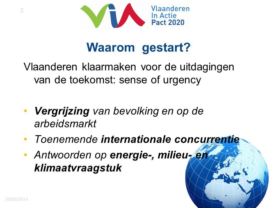 Waarom gestart? Vlaanderen klaarmaken voor de uitdagingen van de toekomst: sense of urgency •Vergrijzing van bevolking en op de arbeidsmarkt •Toenemen