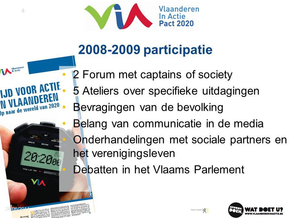 2008-2009 participatie •2 Forum met captains of society •5 Ateliers over specifieke uitdagingen •Bevragingen van de bevolking •Belang van communicatie