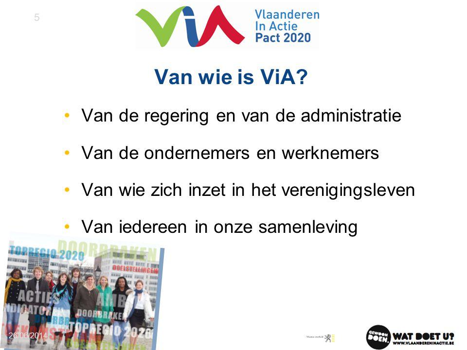 Van wie is ViA? •Van de regering en van de administratie •Van de ondernemers en werknemers •Van wie zich inzet in het verenigingsleven •Van iedereen i