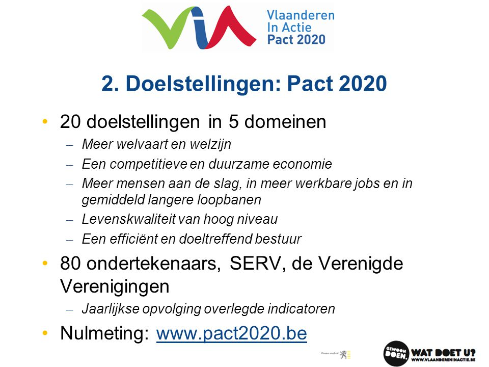 2. Doelstellingen: Pact 2020 •20 doelstellingen in 5 domeinen – Meer welvaart en welzijn – Een competitieve en duurzame economie – Meer mensen aan de