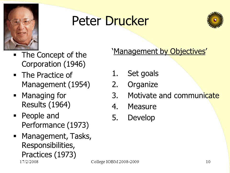 17/2/2008College IOBM 2008-200910 Peter Drucker  The Concept of the Corporation (1946)  The Practice of Management (1954)  Managing for Results (19