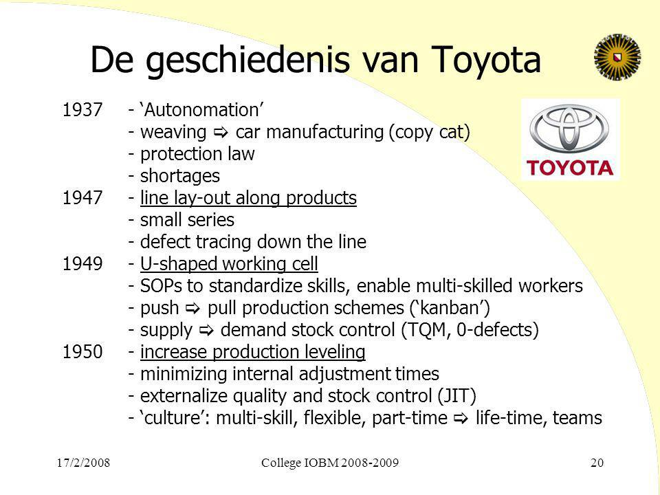17/2/2008College IOBM 2008-200920 De geschiedenis van Toyota 1937- 'Autonomation' - weaving  car manufacturing (copy cat) - protection law - shortages 1947- line lay-out along products - small series - defect tracing down the line 1949- U-shaped working cell - SOPs to standardize skills, enable multi-skilled workers - push  pull production schemes ('kanban') - supply  demand stock control (TQM, 0-defects) 1950- increase production leveling - minimizing internal adjustment times - externalize quality and stock control (JIT) - 'culture': multi-skill, flexible, part-time  life-time, teams