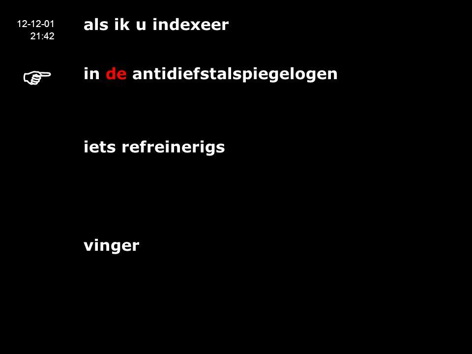 als ik u indexeer in de antidiefstalspiegelogen het maken van de index zelf heeft iets refreinerigs vinger 12-12-01 21:42 