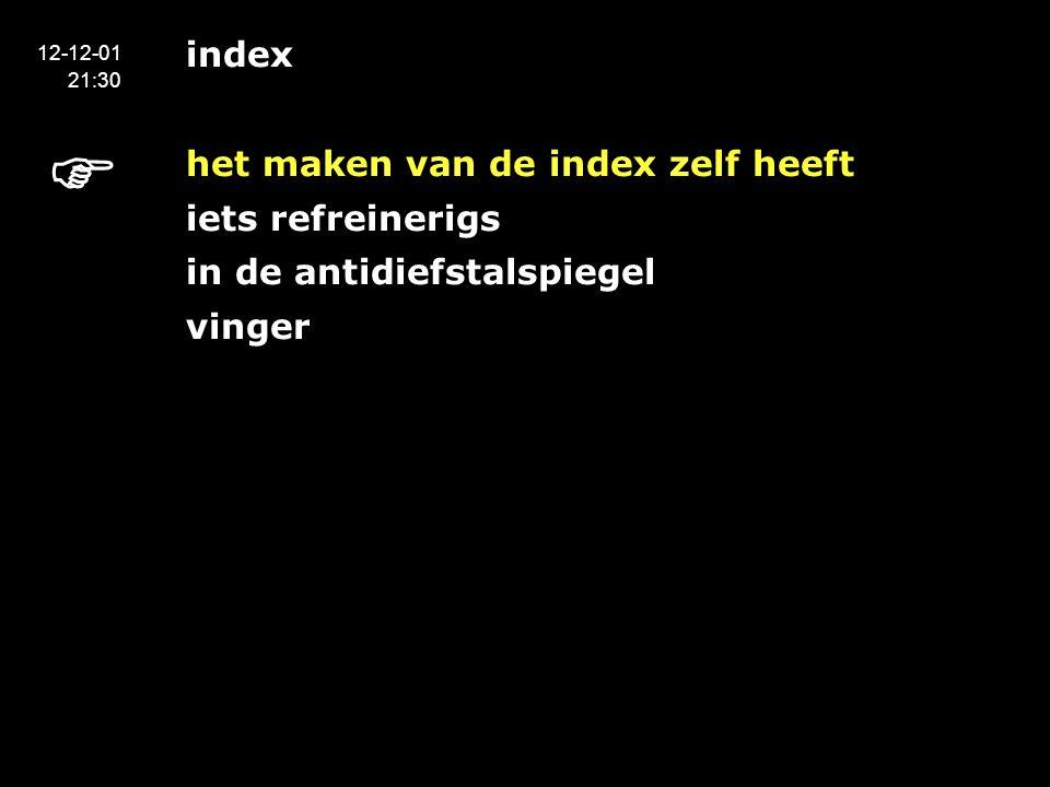 index het maken van de index zelf heeft iets refreinerigs in de antidiefstalspiegel vinger 12-12-01 21:30 
