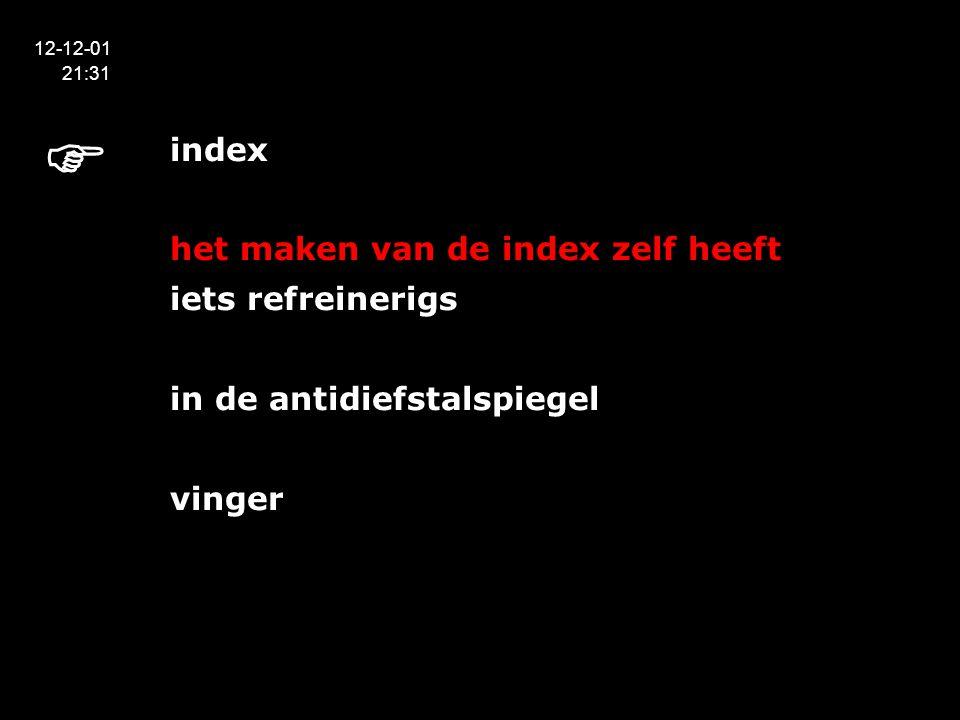 index het maken van de index zelf heeft iets refreinerigs in de antidiefstalspiegel vinger 12-12-01 21:31 