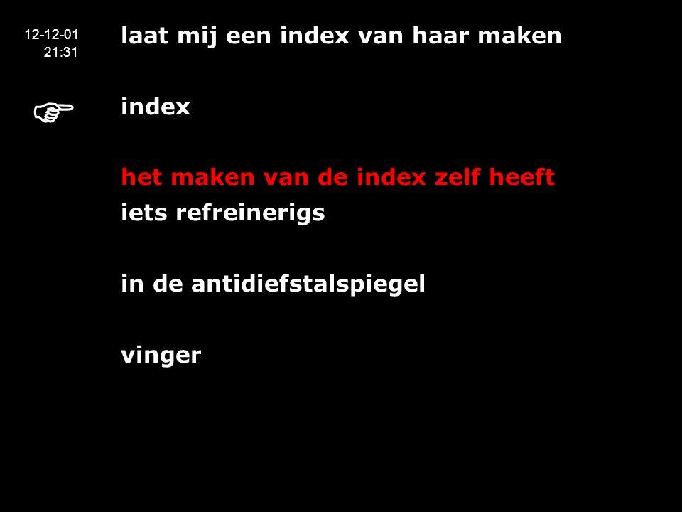 laat mij een index van haar maken index het maken van de index zelf heeft iets refreinerigs in de antidiefstalspiegel vinger 12-12-01 21:31 