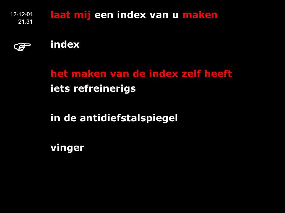 laat mij een index van u maken index het maken van de index zelf heeft iets refreinerigs in de antidiefstalspiegel vinger 12-12-01 21:31 