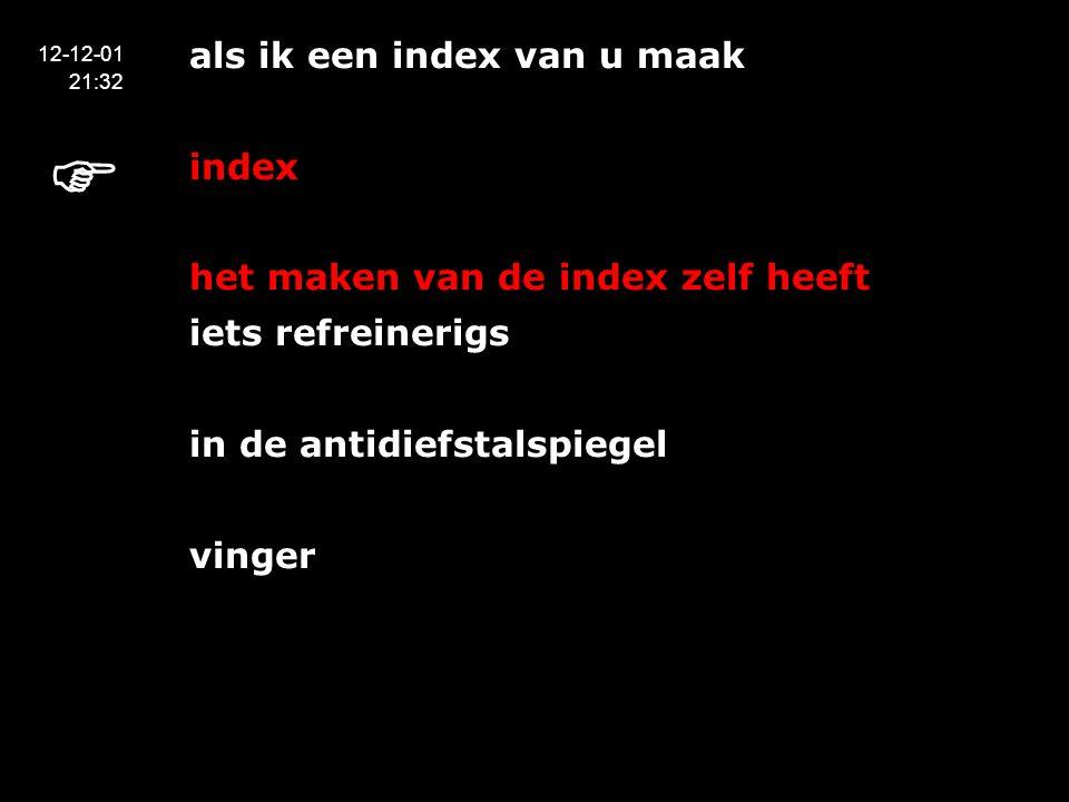 als ik een index van u maak index het maken van de index zelf heeft iets refreinerigs in de antidiefstalspiegel vinger 12-12-01 21:32 